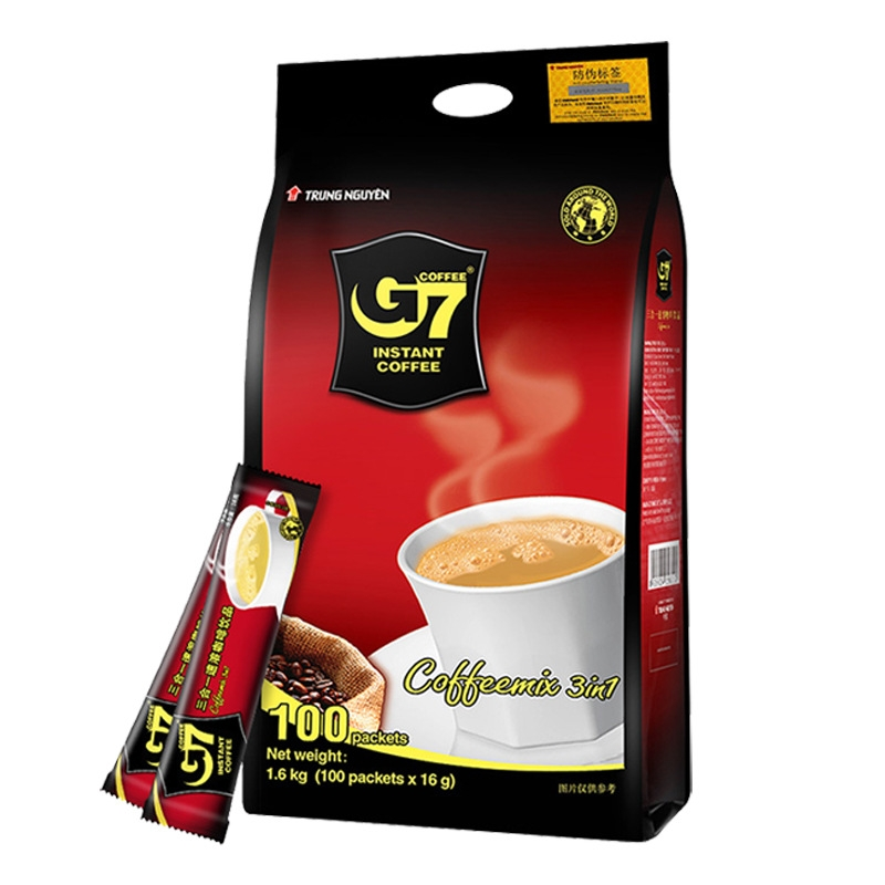 越南进口 中原G7咖啡 速溶三合一咖啡粉1600克 100包特浓咖啡包邮