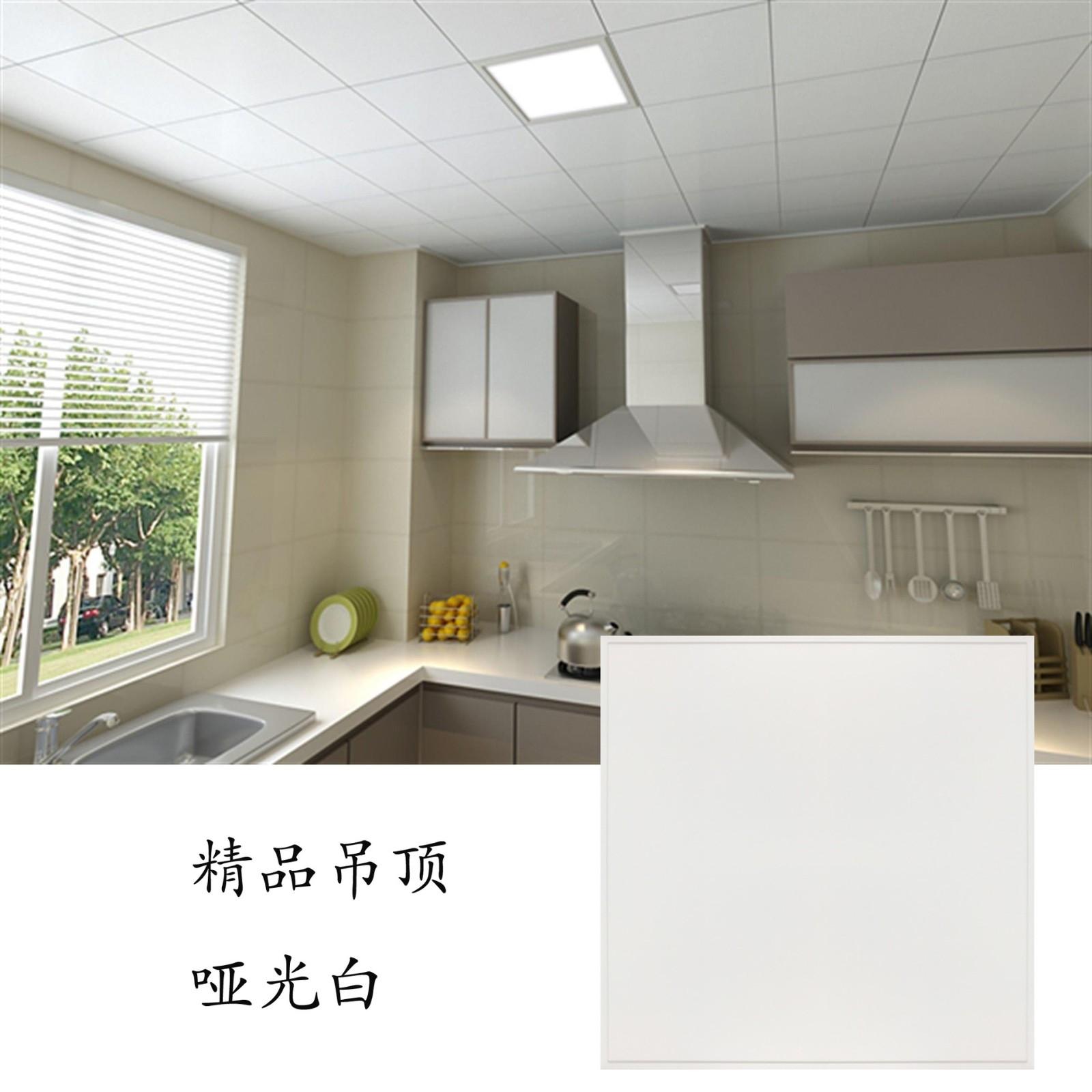 家装工装集成吊顶铝扣板哑光纯白厨房卫生间办公室天花300X300