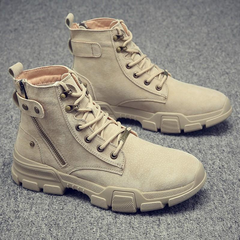 秋季新款真皮马丁靴时尚工装皮靴潮流高帮靴子百搭潮鞋