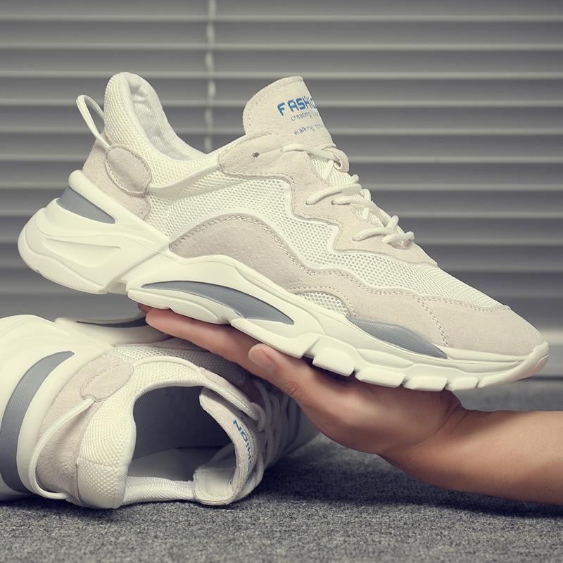2020夏季新款百搭真皮老爹鞋 网面透气运动鞋 潮流小白鞋男士休闲鞋