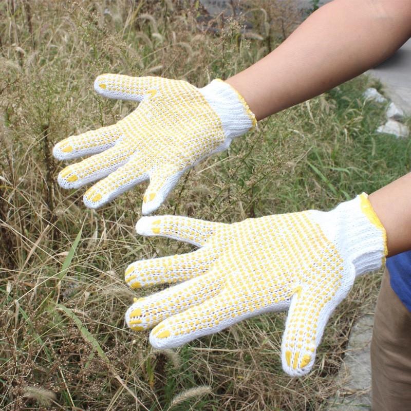 点珠点胶pvc劳保工作手套 防滑耐磨点塑手套 劳保手套